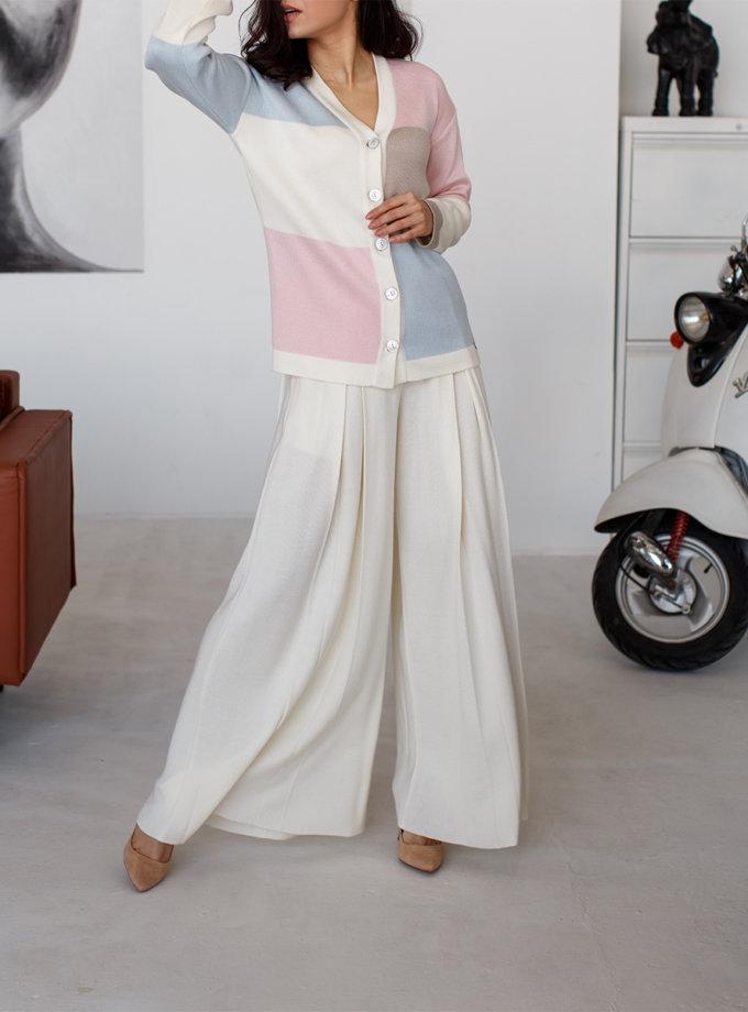 Широкие брюки с карманами NBL_2101-TROUSPLEATMILK, фото 1 - в интеренет магазине KAPSULA