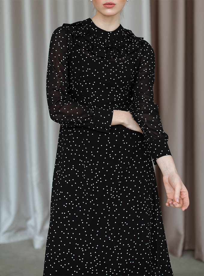 Платье миди в горох AY_3107, фото 1 - в интеренет магазине KAPSULA