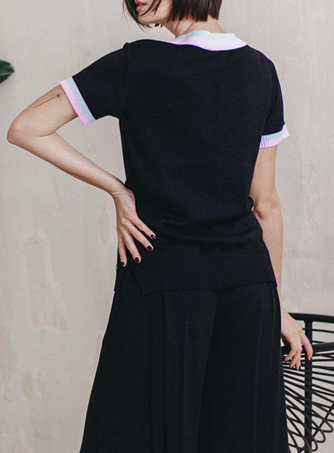 Топ с кантом на рукавах NBL_2012-JUMPBLACK-BLU-PI, фото 1 - в интернет магазине KAPSULA