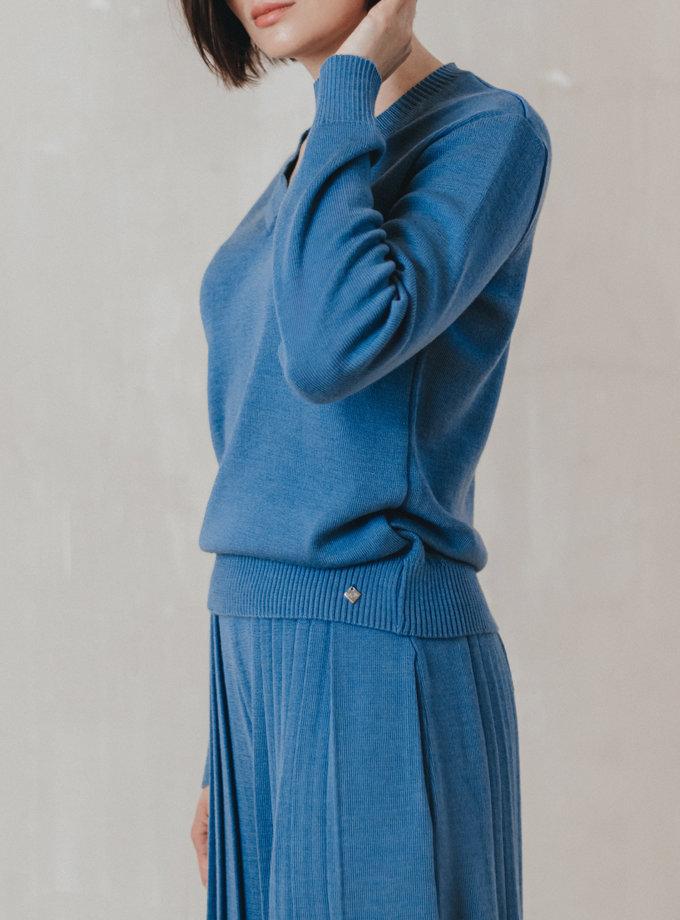 Джемпер с V-вырезом из шерсти NBL_2012-JVWGREYBLU, фото 1 - в интернет магазине KAPSULA