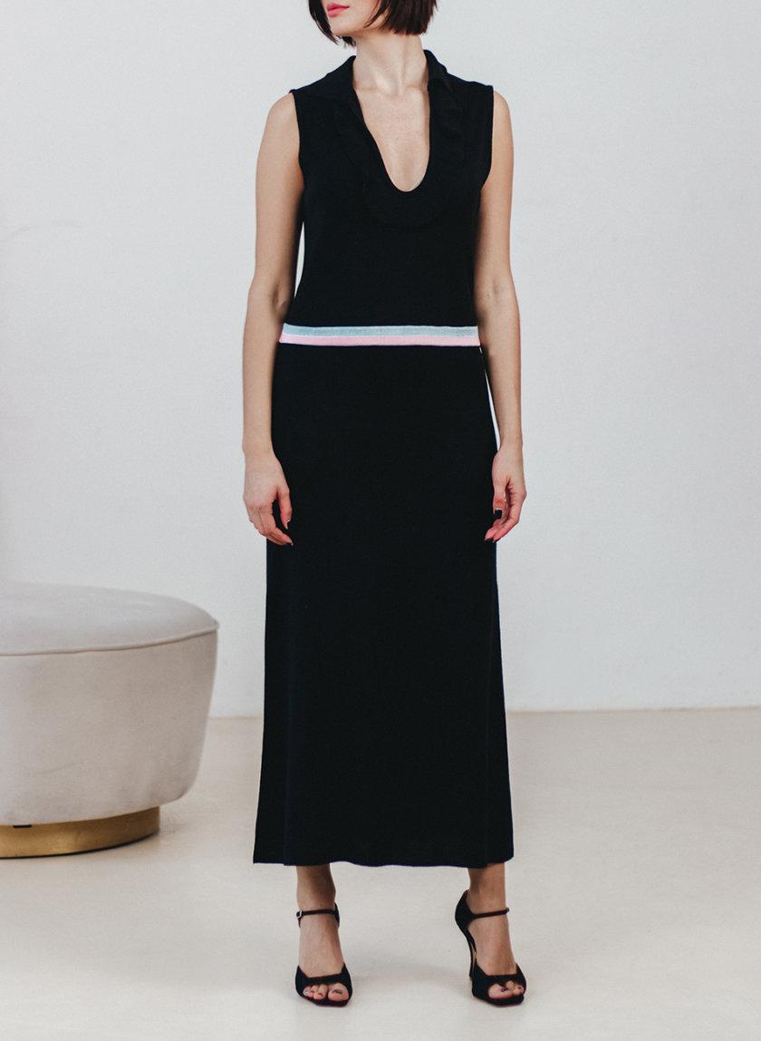 Платье-поло с рюшем и разрезами NBL_2101-DRESSPOSLITFLBLACK, фото 1 - в интернет магазине KAPSULA