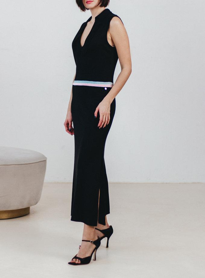 Платье-поло с рюшем и разрезами NBL_2101-DRESSPOSLITFLBLACK, фото 1 - в интеренет магазине KAPSULA
