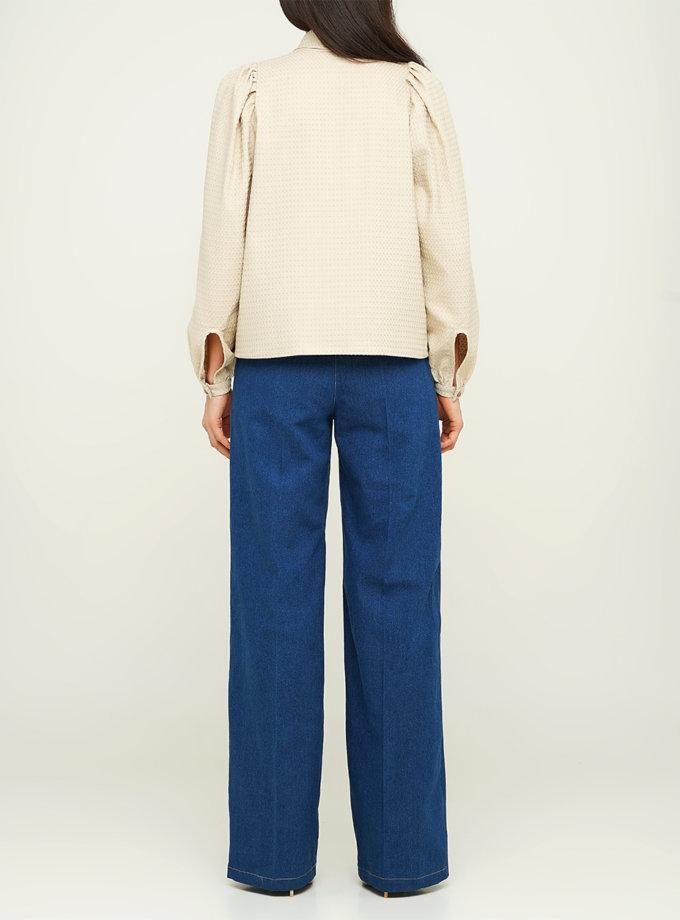 Хлопковая блуза с рукавом фонарик AY_3125, фото 1 - в интернет магазине KAPSULA