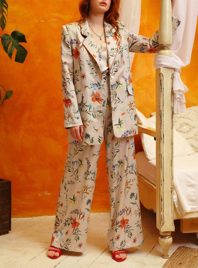 Широкие брюки в цветочный принт VONA_SS-21-14, фото 1 - в интернет магазине KAPSULA