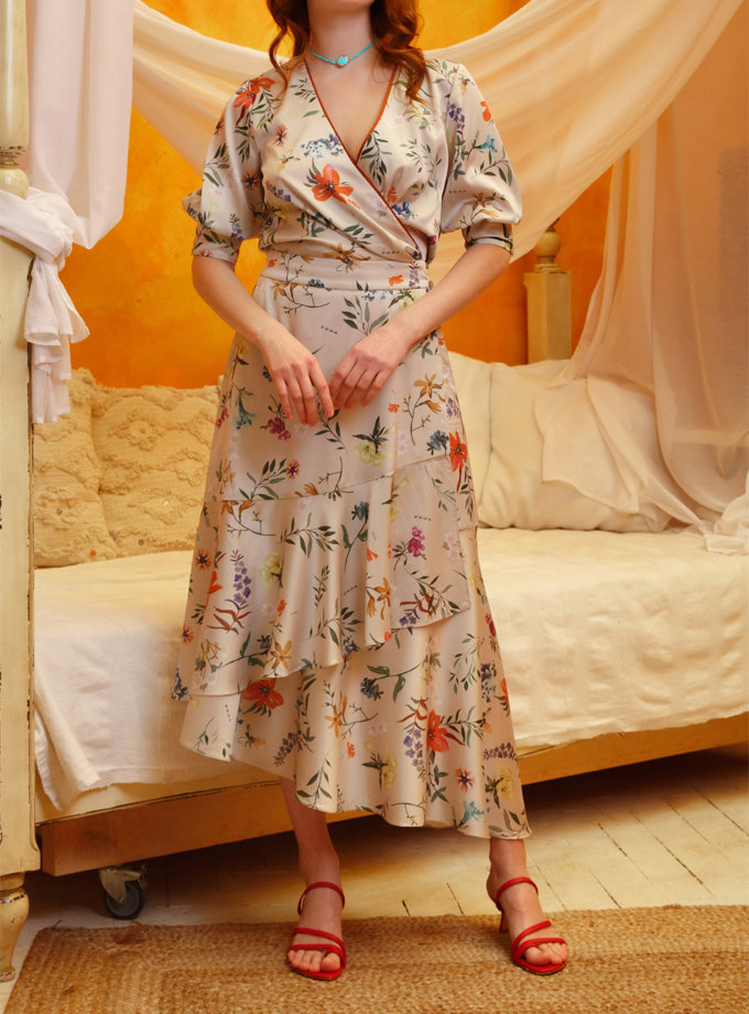 Платье миди на запах VONA_SS-21-16, фото 1 - в интернет магазине KAPSULA