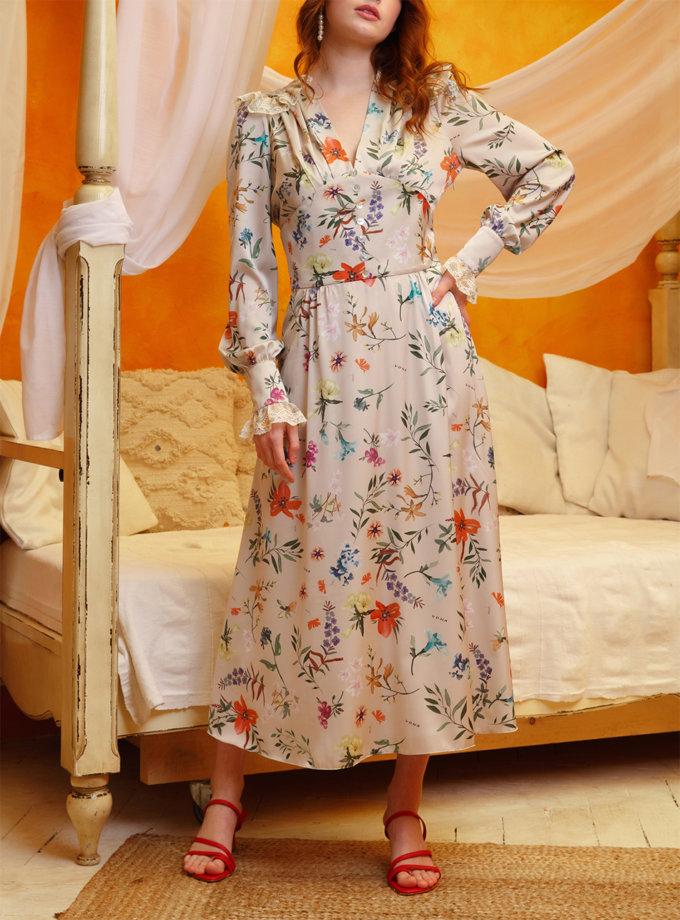 Платье миди с кружевом VONA_SS-21-17, фото 1 - в интернет магазине KAPSULA
