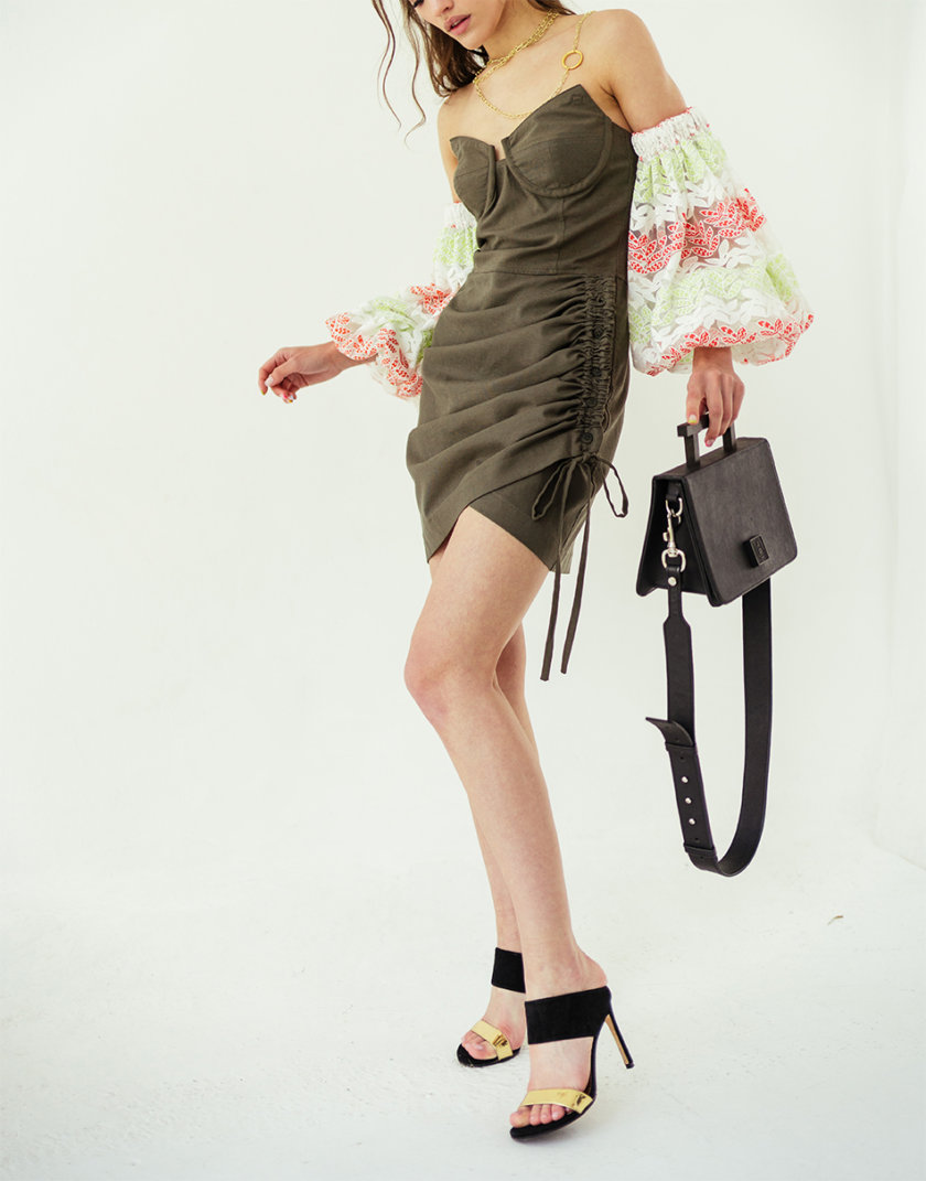 Платье с фантазийным рукавом без плечей SE_SE19_Drs_Mn_Wd_Slv_Khk, фото 1 - в интернет магазине KAPSULA