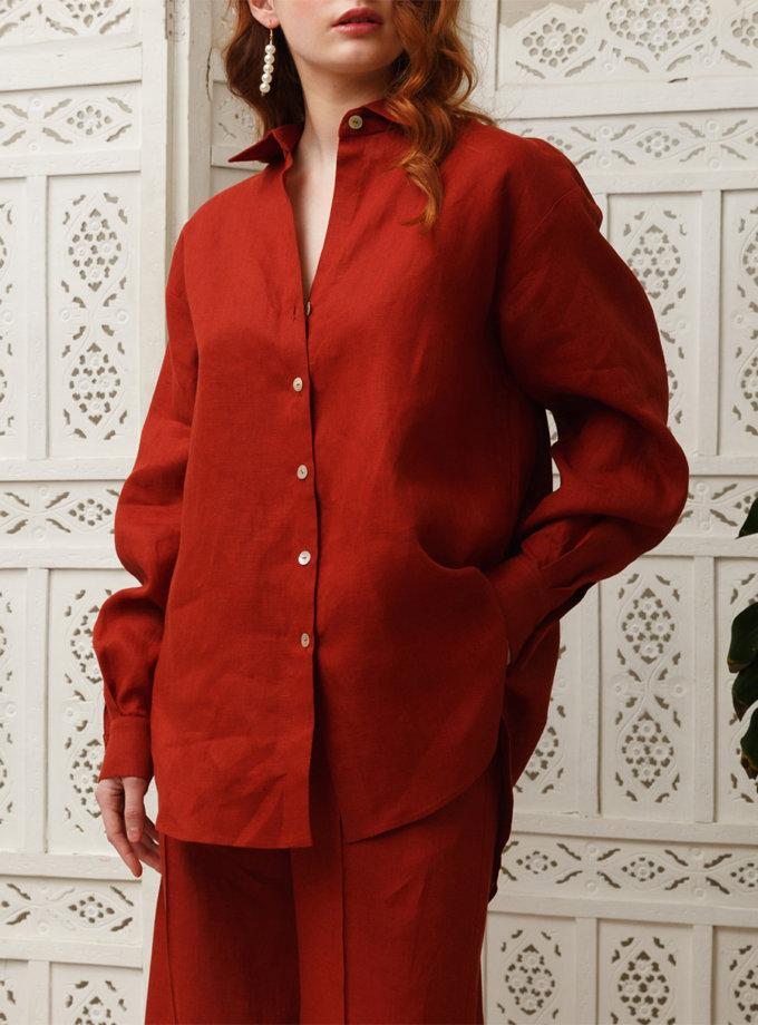 Объемная рубашка из льна VONA_SSYA-21-04, фото 1 - в интернет магазине KAPSULA