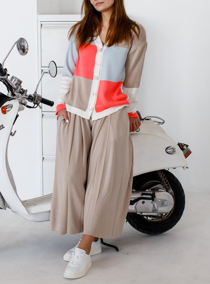 Укороченные брюки с карманами NBL_2101-CULPLEATBEG, фото 1 - в интеренет магазине KAPSULA