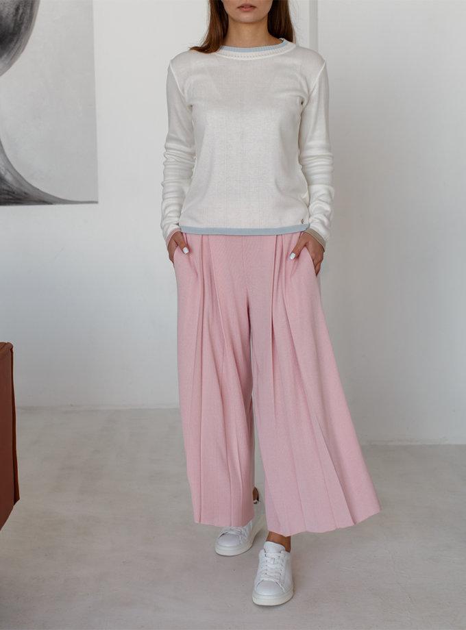 Укороченные брюки с карманами NBL_2101-CULPLEATPINK, фото 1 - в интеренет магазине KAPSULA