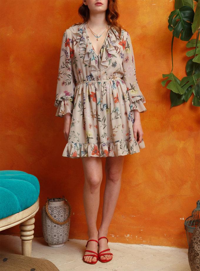 Платье мини с V-вырезом VONA_SSYA-21-21, фото 1 - в интернет магазине KAPSULA