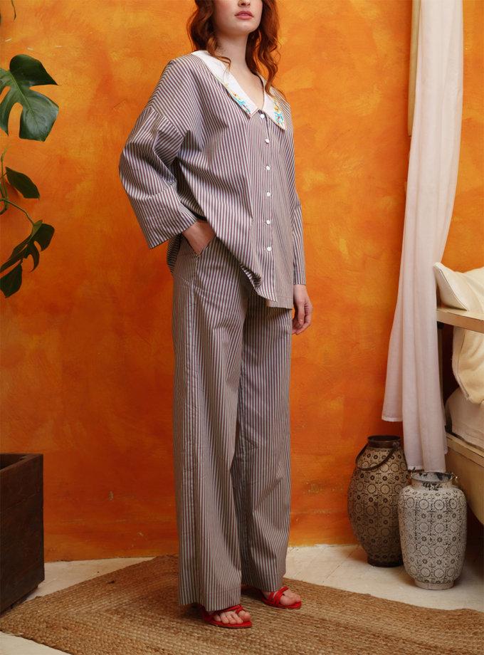 Хлопковый костюм с вышитым воротником VONA_SS-21-22, фото 1 - в интернет магазине KAPSULA