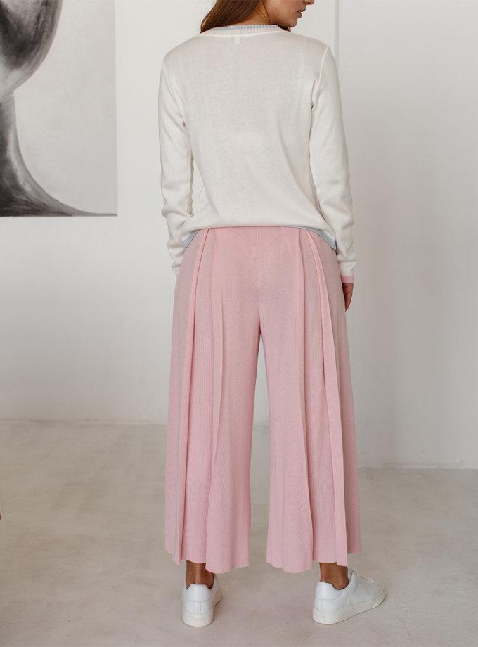 Укороченные брюки с карманами NBL_2101-CULPLEATPINK, фото 1 - в интернет магазине KAPSULA
