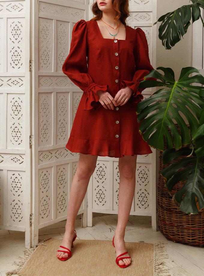 Льняное платье с объемными рукавами VONA_SS-21-03, фото 1 - в интернет магазине KAPSULA