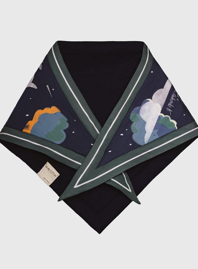 Утепленный платок Ночь такая лунная NST_N1, фото 1 - в интернет магазине KAPSULA