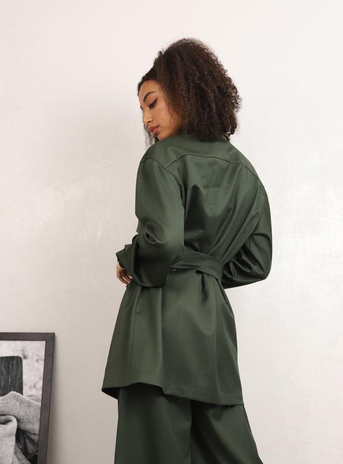 Рубашка из шерсти с поясом RVR_REFW20-1001GN, фото 1 - в интернет магазине KAPSULA