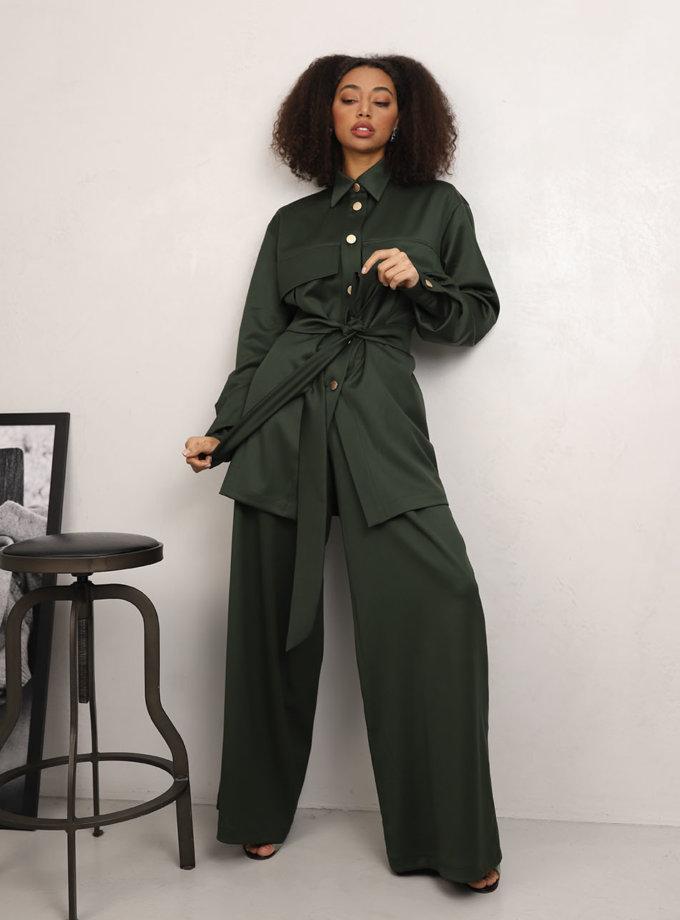 Широкие брюки из шерсти RVR_REFW20-1002GN, фото 1 - в интернет магазине KAPSULA