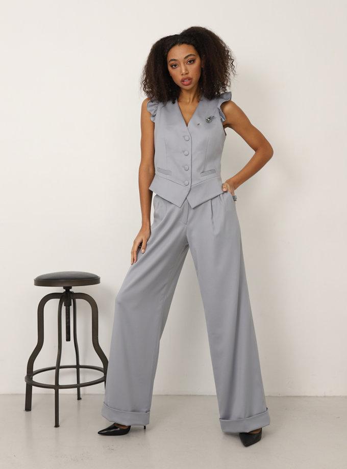 Широкие брюки из шерсти RVR_REFW20-1010GR, фото 1 - в интеренет магазине KAPSULA