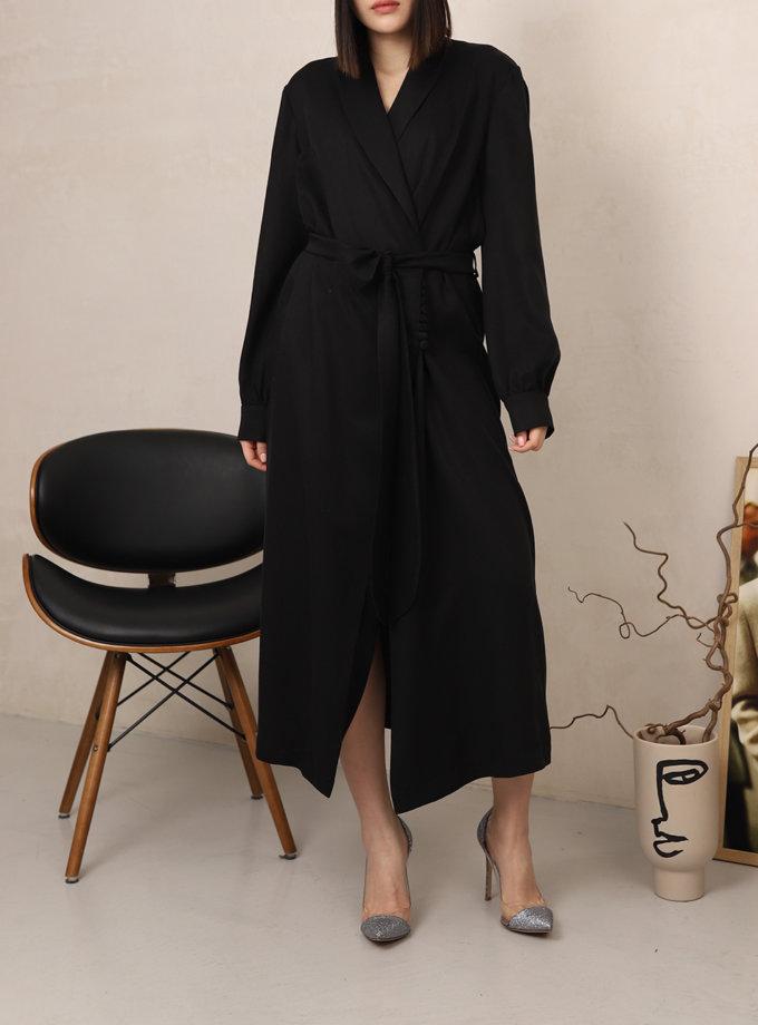Платье на запах с шалевым воротником RVR_REFW20-1017BK, фото 1 - в интеренет магазине KAPSULA