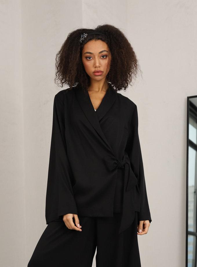 Блуза на запах RVR_REFW20-1019BK, фото 1 - в интеренет магазине KAPSULA