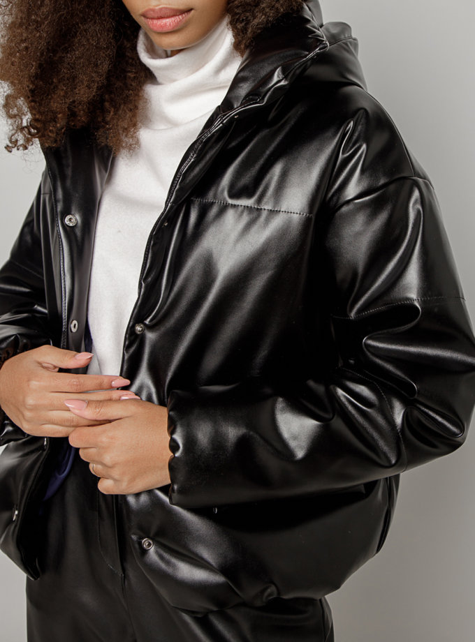 Объемная куртка из эко-кожи MRZZ_mz_100620, фото 1 - в интернет магазине KAPSULA