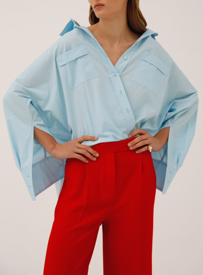 Хлопковая рубашка свободного кроя LAB_00007, фото 1 - в интернет магазине KAPSULA