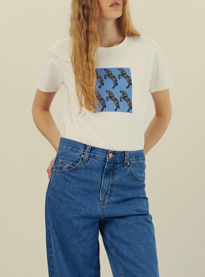 Хлопковая футболка с принтом KNIT_30011, фото 1 - в интернет магазине KAPSULA