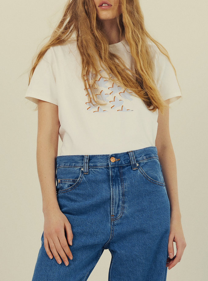 Бавовняна футболка з принтом KNIT_30012, фото 1 - в интернет магазине KAPSULA