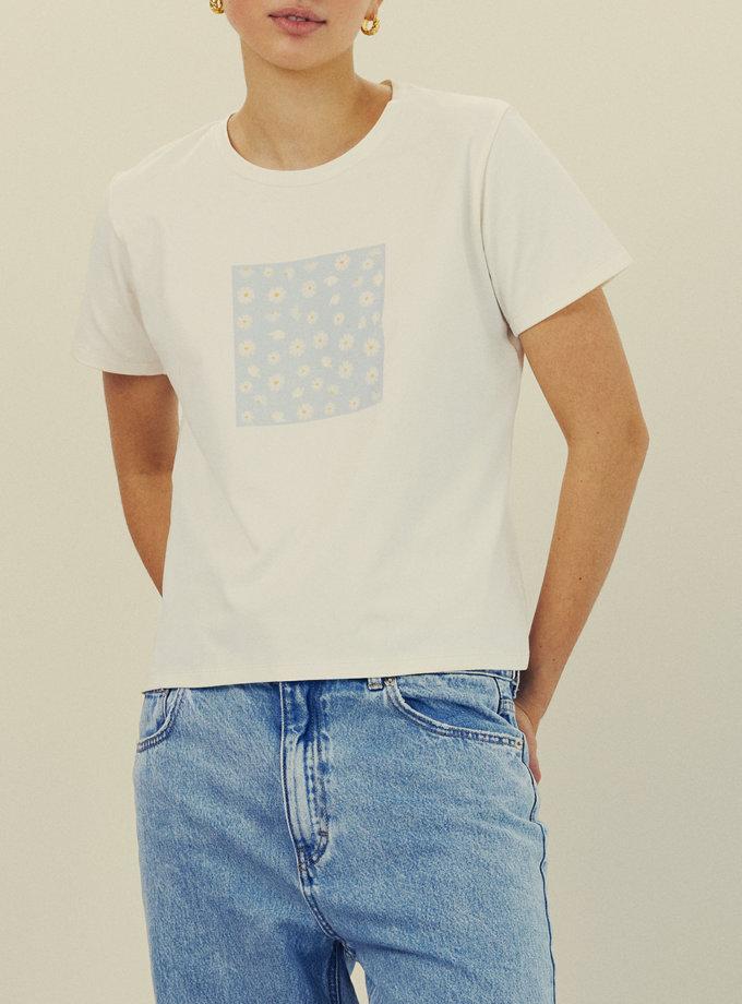Бавовняна футболка з принтом KNIT_30015, фото 1 - в интернет магазине KAPSULA