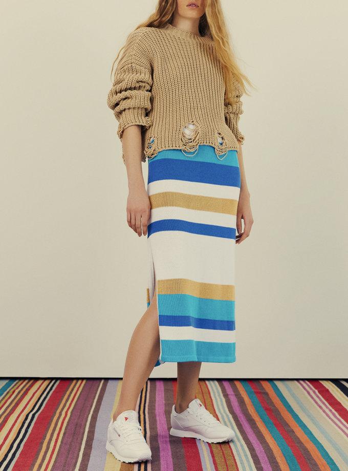 Хлопковое платье в полоску KNIT_30031, фото 1 - в интернет магазине KAPSULA