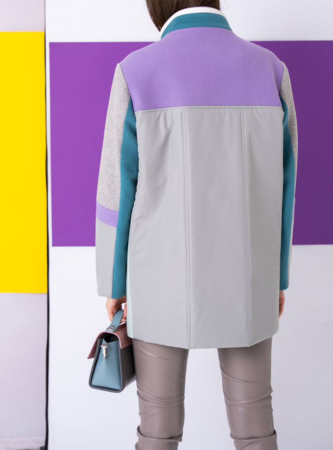 Комбинированное укороченное пальто TBC_SS21_2222wpl, фото 1 - в интернет магазине KAPSULA