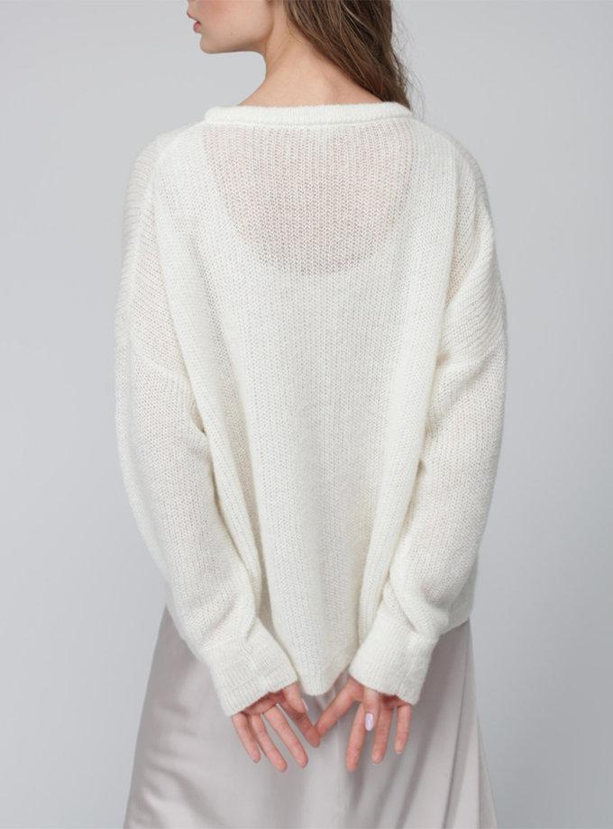 Джемпер oversize с мохера MISS_PU-020-white, фото 1 - в интернет магазине KAPSULA