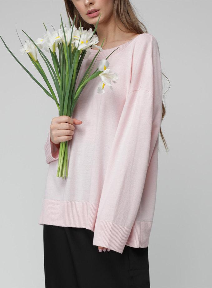 Джемпер oversize с V-вырезом MISS_PU-021-pink, фото 1 - в интернет магазине KAPSULA