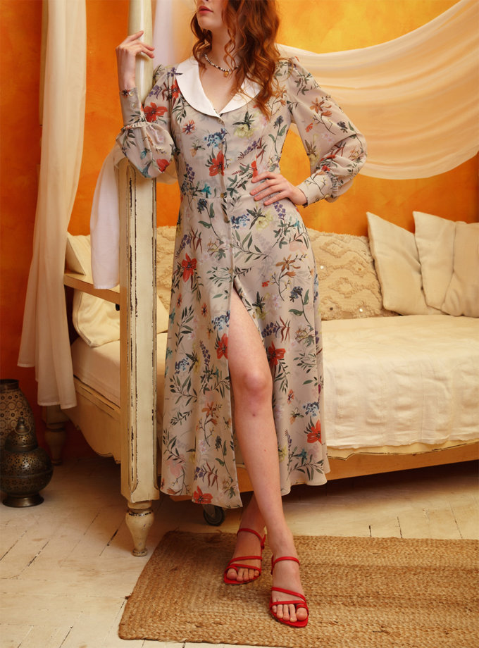 Платье миди на пуговицах VONA_SS-21-18, фото 1 - в интернет магазине KAPSULA