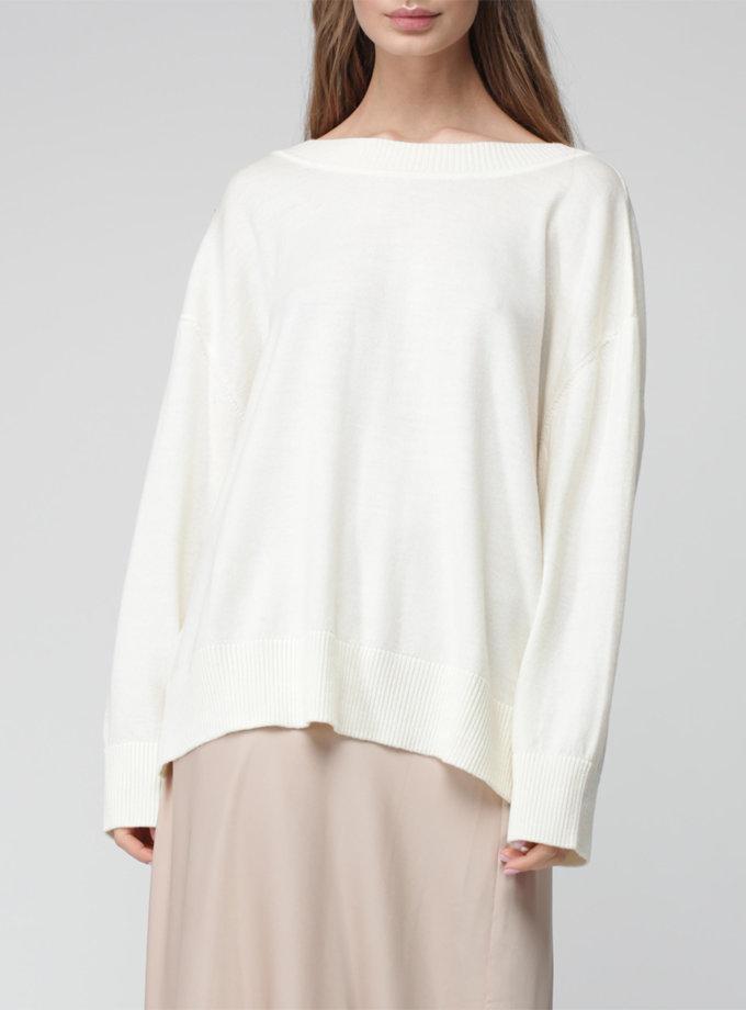 Джемпер oversize с V-вырезом MISS_PU-021-white, фото 1 - в интернет магазине KAPSULA