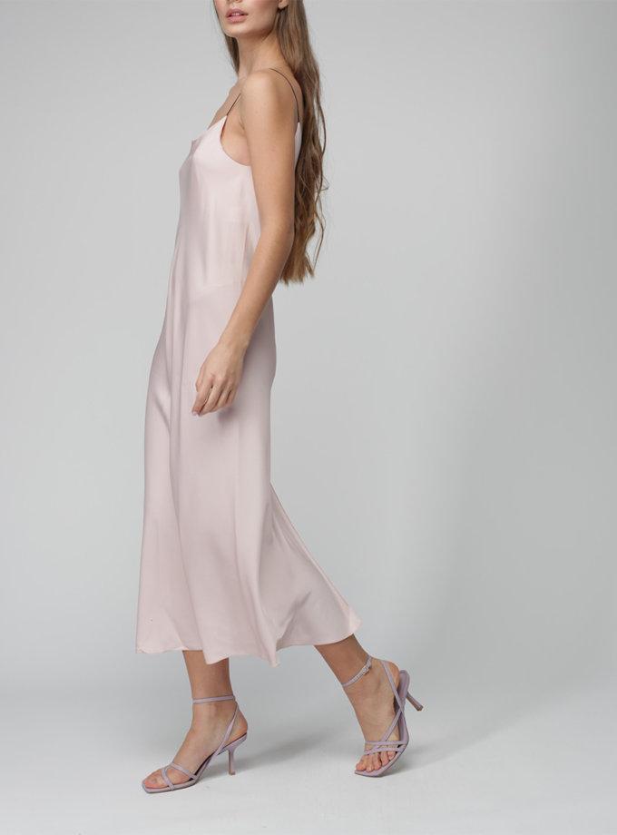 Шелковое платье миди на тонких бретельках MISS_DR-036-pink-comb, фото 1 - в интернет магазине KAPSULA