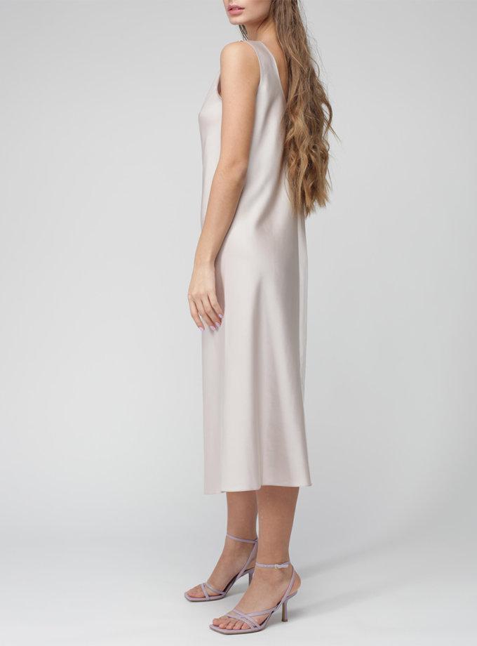 Шелковое платье миди MISS_DR-037-pearl, фото 1 - в интернет магазине KAPSULA