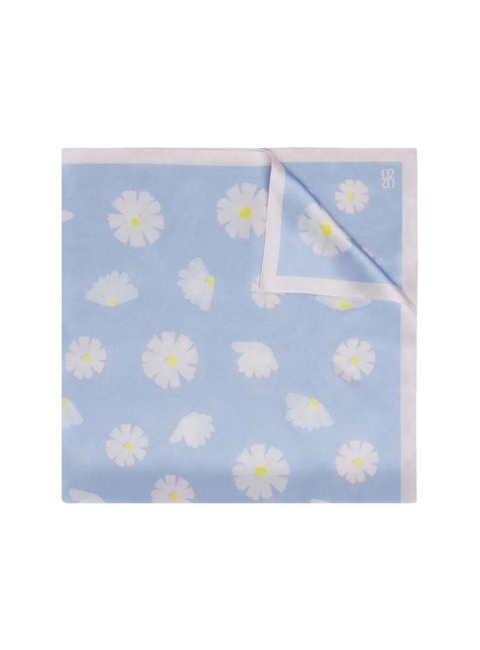 Шелковый платок с эксклюзивным принтом 100х100 см KNIT_30039-4, фото 1 - в интернет магазине KAPSULA