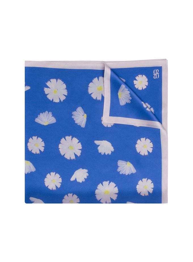 Шелковый платок с эксклюзивным принтом 100х100 см KNIT_30039-6, фото 1 - в интернет магазине KAPSULA