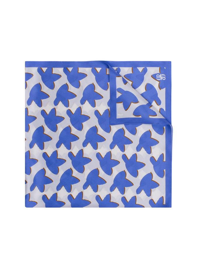 Шелковый платок с эксклюзивным принтом 100х100 см KNIT_30038-2, фото 1 - в интернет магазине KAPSULA