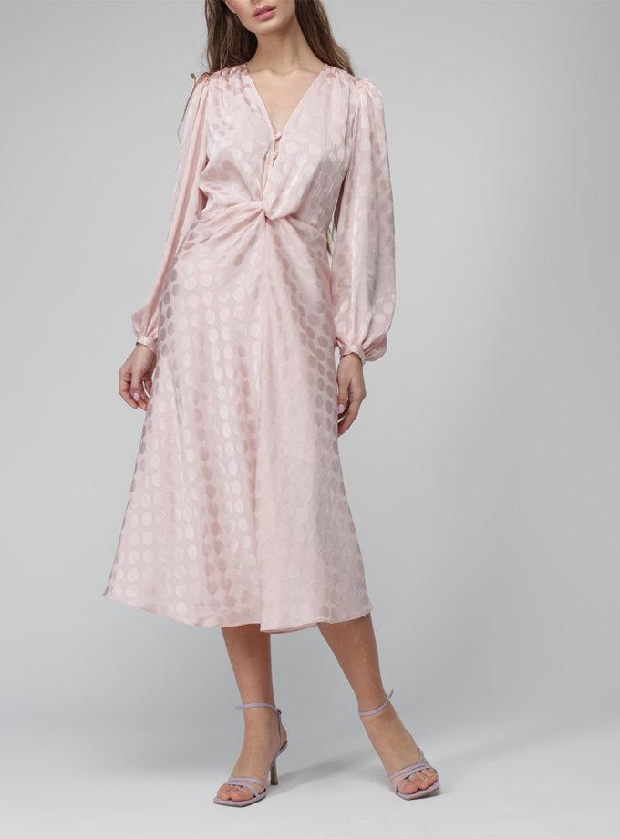 Шифоновое платье миди с объемным рукавом MISS_DR-036-pink, фото 1 - в интернет магазине KAPSULA