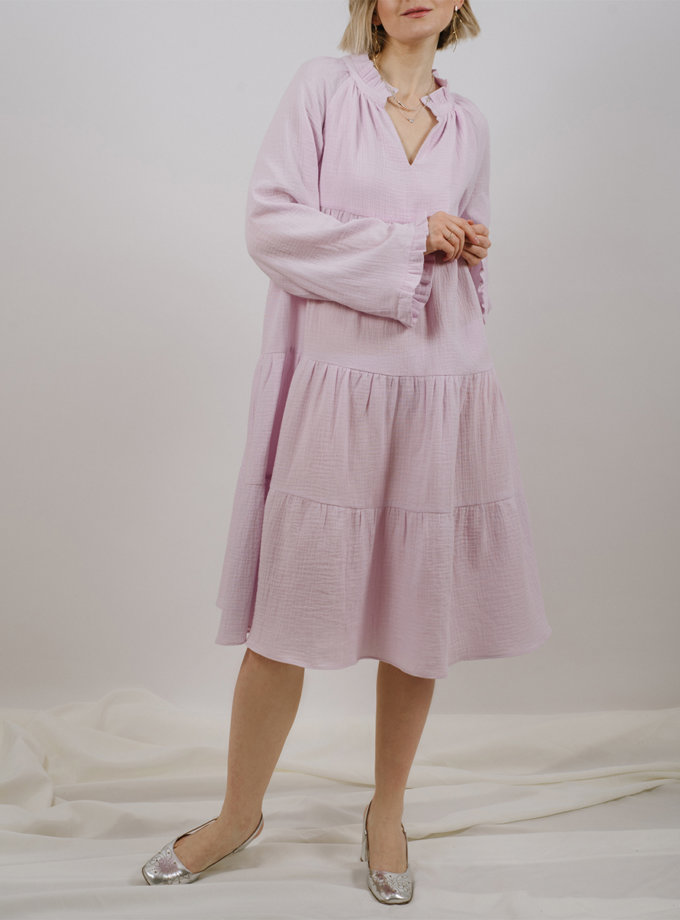 Хлопковое платье свободного кроя MNTK_MTS2129, фото 1 - в интернет магазине KAPSULA