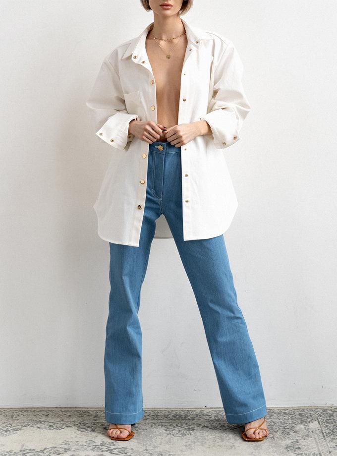 Хлопковые джинсы Amari Blue с высокой талией MC_MY5721, фото 1 - в интернет магазине KAPSULA