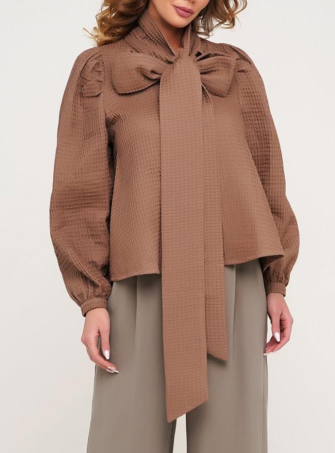 Хлопковая блуза с рукавом фонарик AY_3139, фото 1 - в интернет магазине KAPSULA