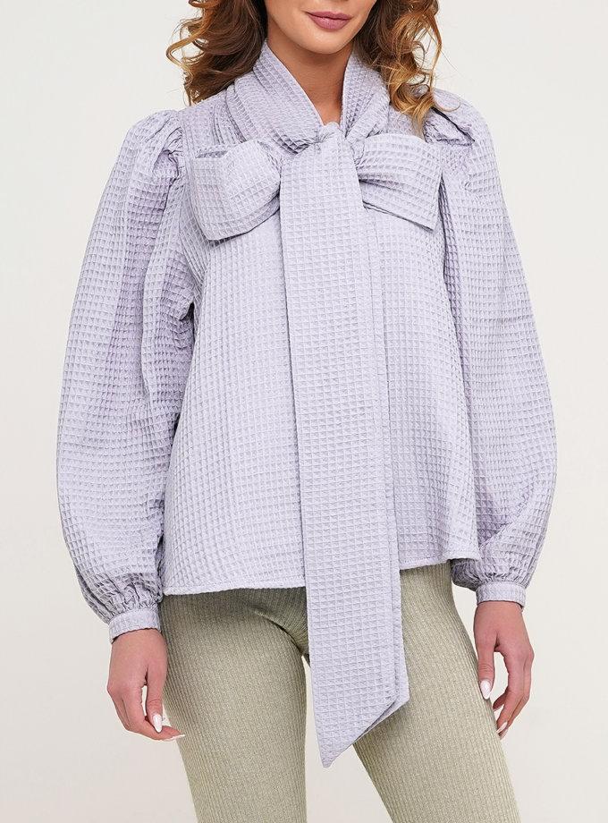 Хлопковая блуза с рукавом фонарик AY_3141, фото 1 - в интернет магазине KAPSULA