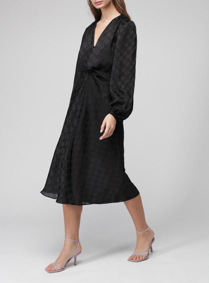 Шифоновое платье миди с объемным рукавом MISS_DR-036-black, фото 1 - в интернет магазине KAPSULA