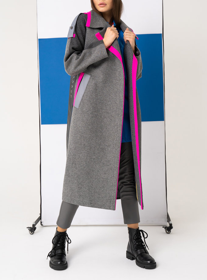Пальто из шерсти с яркими акцентами TBC_SS21_2223w, фото 1 - в интернет магазине KAPSULA
