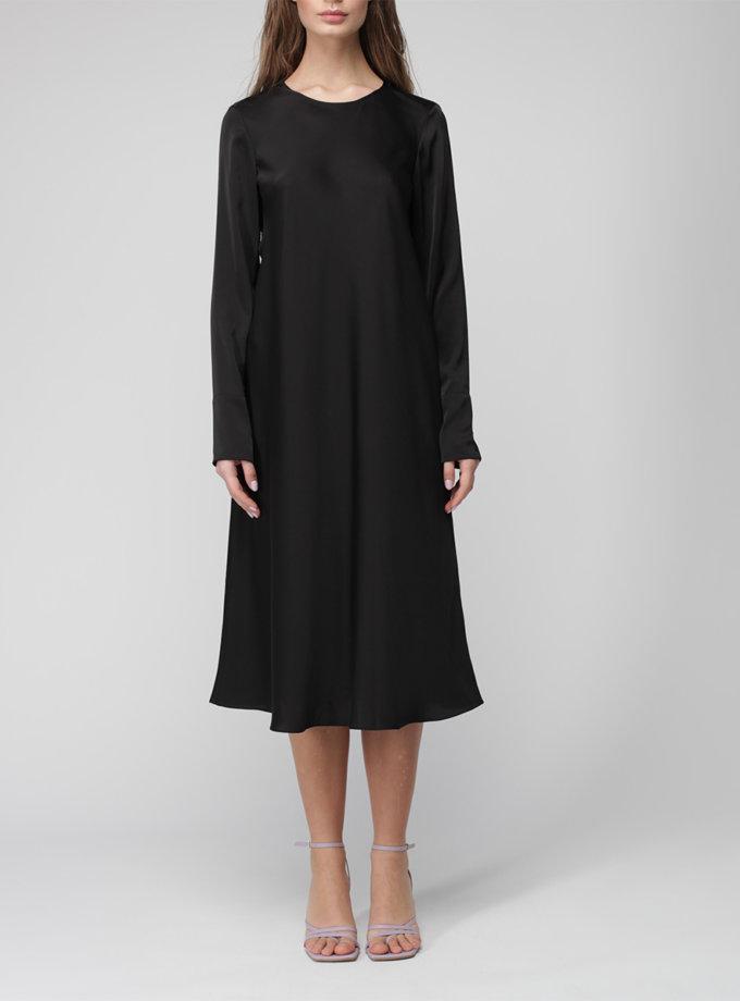 Шелковое платье миди MISS_DR-035-black, фото 1 - в интернет магазине KAPSULA