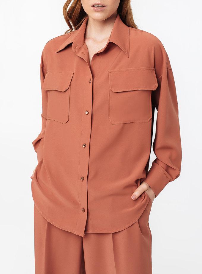 Рубашка свободного кроя со спущенным плечём MGN_2104PH, фото 1 - в интернет магазине KAPSULA