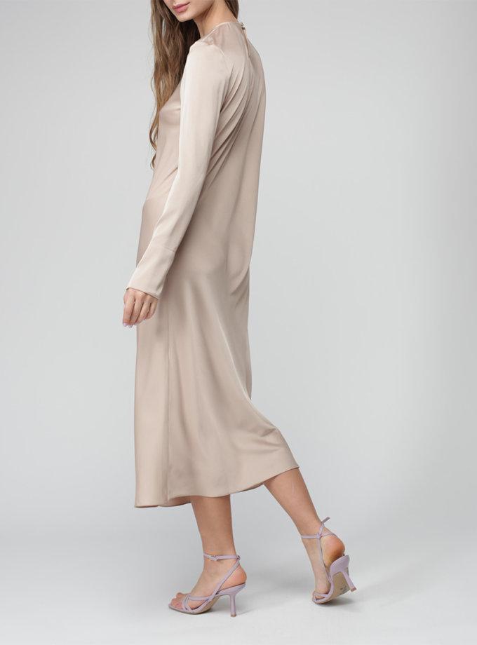 Шелковое платье миди MISS_DR-035-beige, фото 1 - в интернет магазине KAPSULA